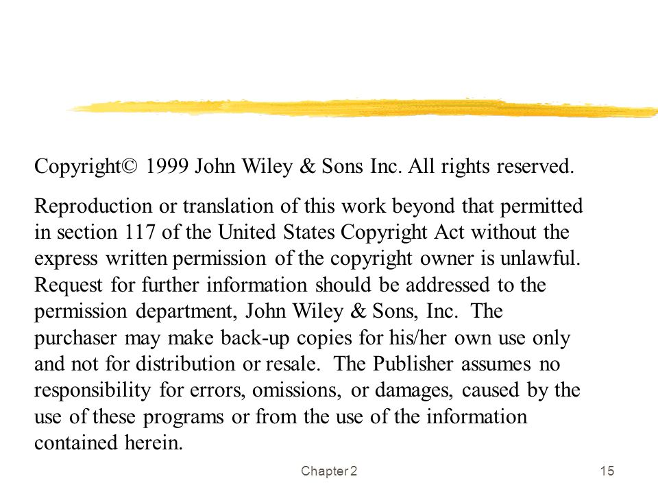 Copyright© 1999 John Wiley & Sons Inc. All rights reserved.