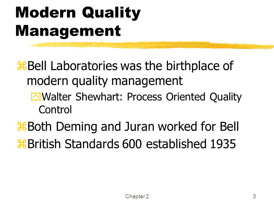 Modern Quality Management