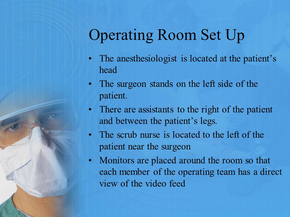 Operating Room Set Up The anesthesiologist is located at the patient's head. The surgeon stands on the left side of the patient.