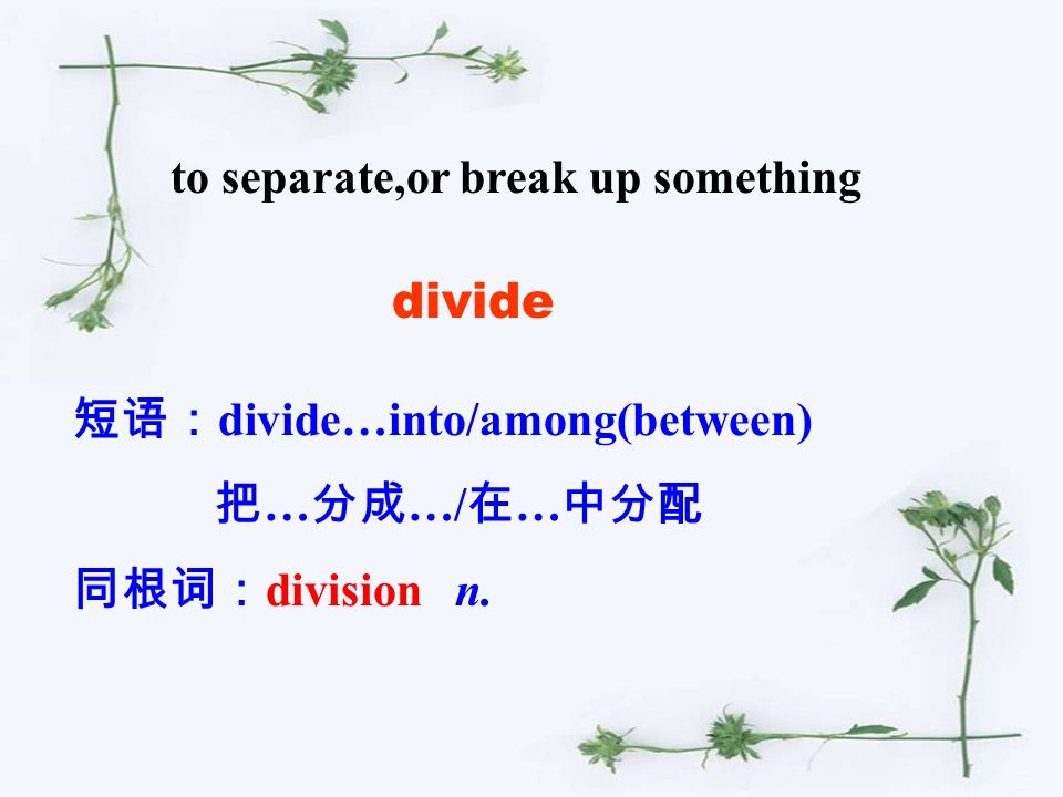 divide to separate,or break up something 短语:divide…into/among(between)