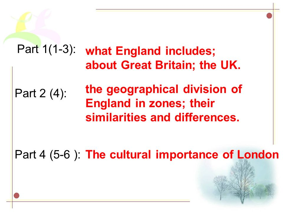 Part 1(1-3): what England includes; about Great Britain; the UK. the geographical division of England in zones; their similarities and differences.