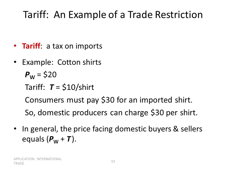 Tariff: An Example of a Trade Restriction