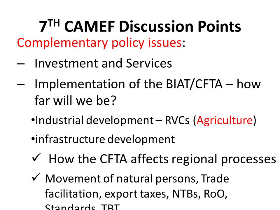 7TH CAMEF Discussion Points