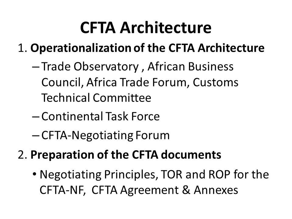 CFTA Architecture 1. Operationalization of the CFTA Architecture