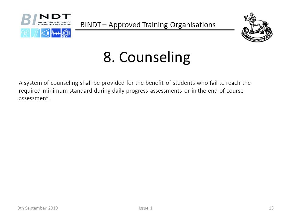 8. Counseling BINDT – Approved Training Organisations