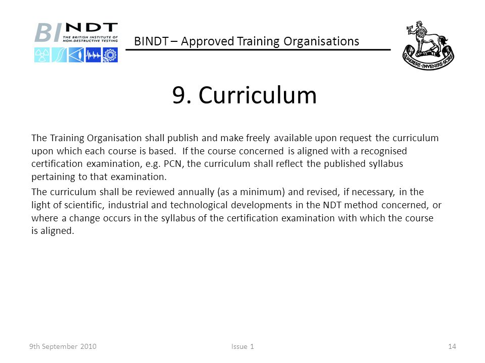 9. Curriculum BINDT – Approved Training Organisations