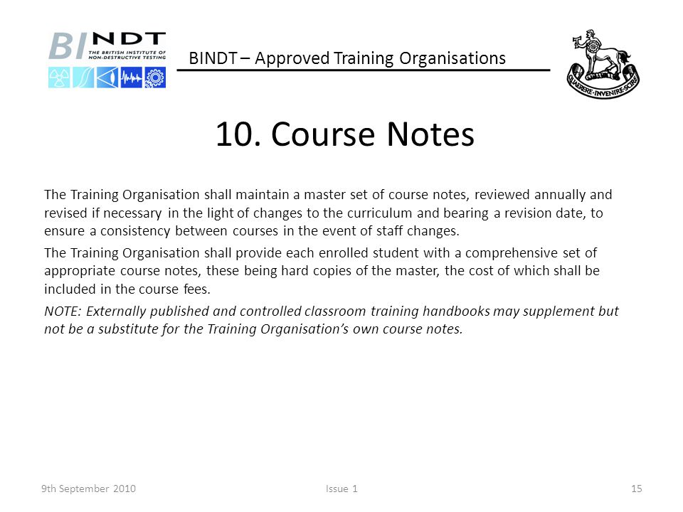 10. Course Notes BINDT – Approved Training Organisations