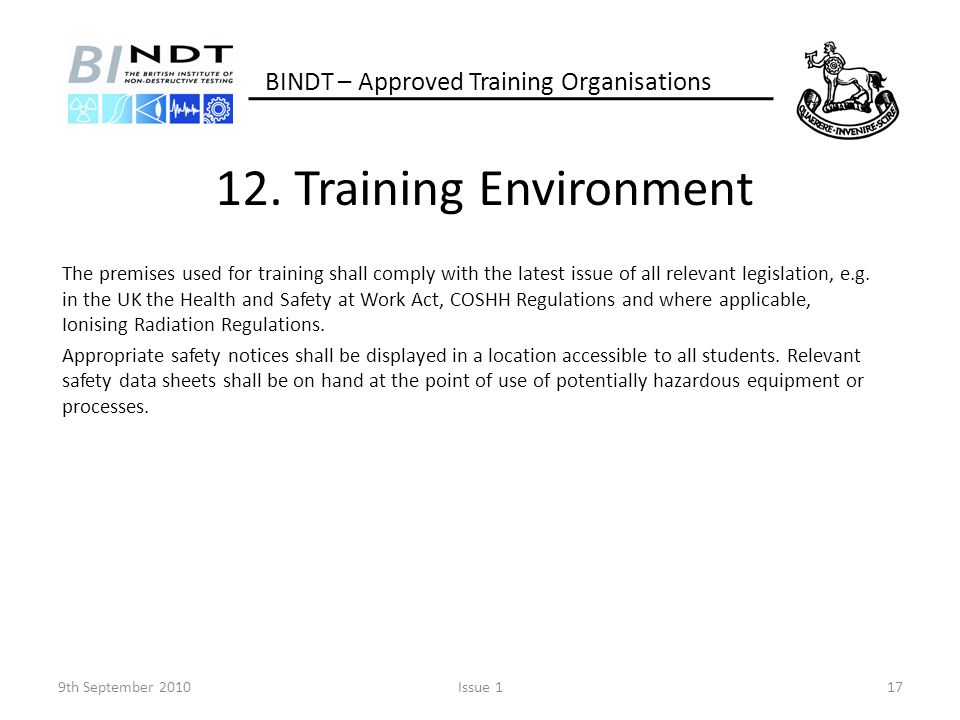 12. Training Environment BINDT – Approved Training Organisations