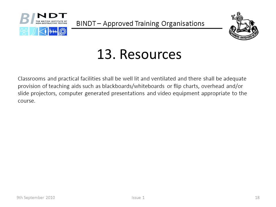 13. Resources BINDT – Approved Training Organisations