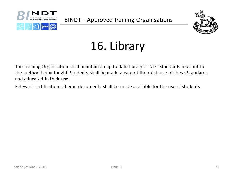 16. Library BINDT – Approved Training Organisations