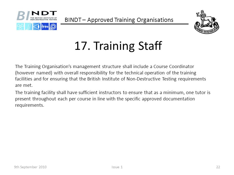 17. Training Staff BINDT – Approved Training Organisations