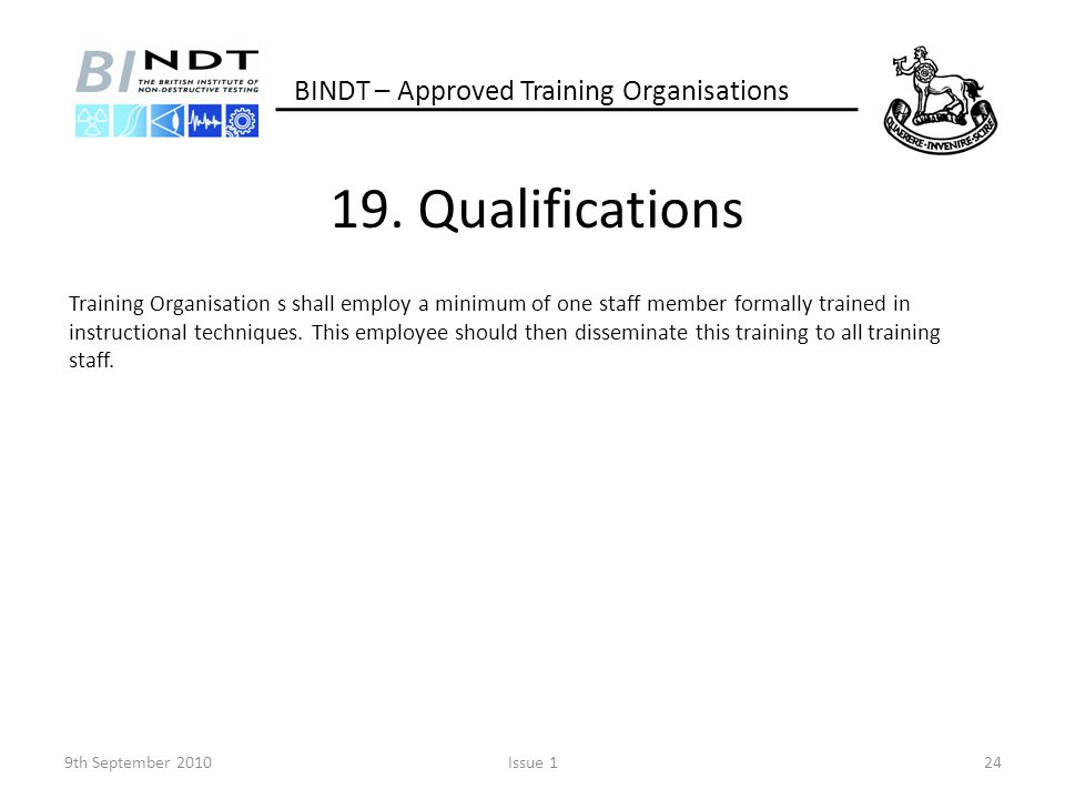 19. Qualifications BINDT – Approved Training Organisations