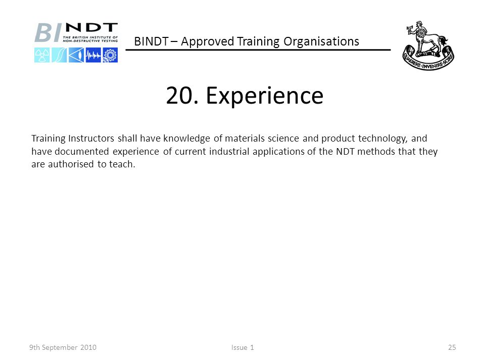 20. Experience BINDT – Approved Training Organisations