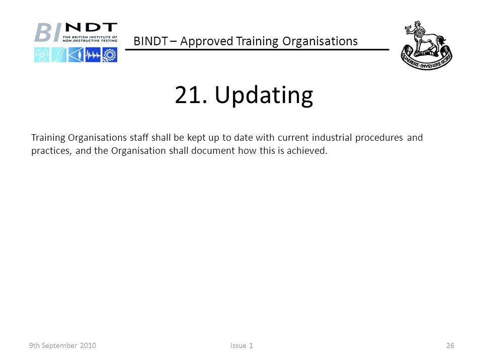 21. Updating BINDT – Approved Training Organisations