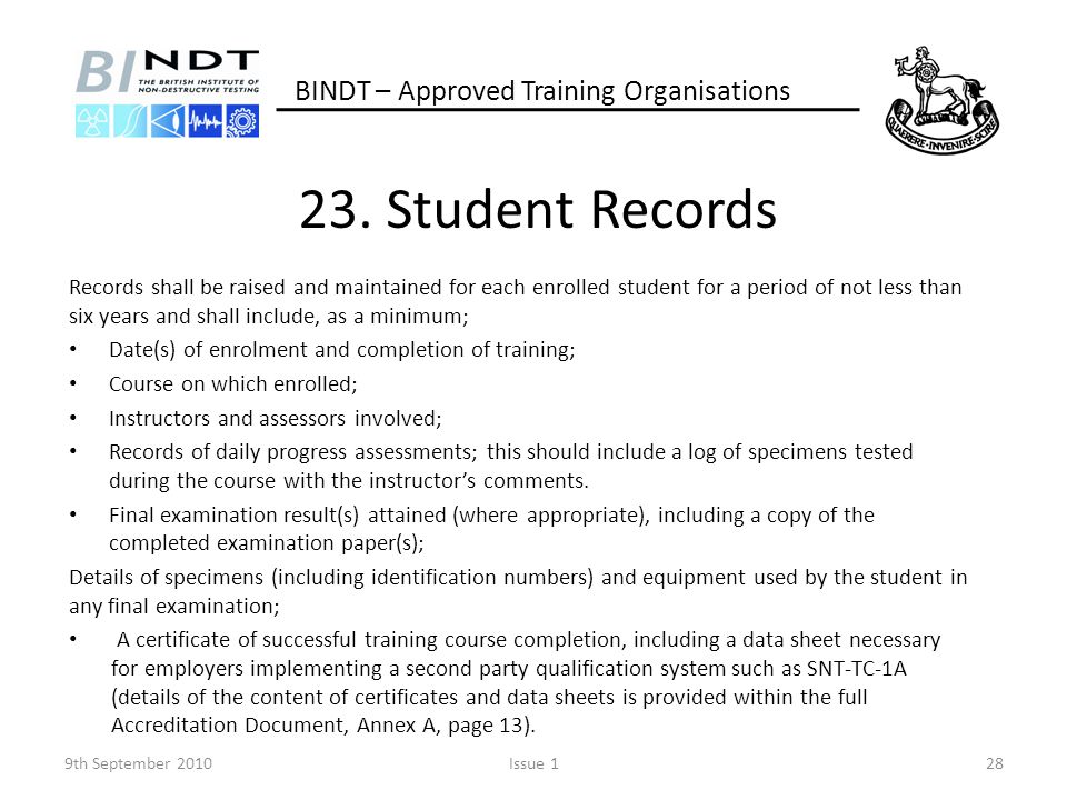 23. Student Records BINDT – Approved Training Organisations