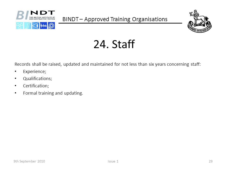 24. Staff BINDT – Approved Training Organisations