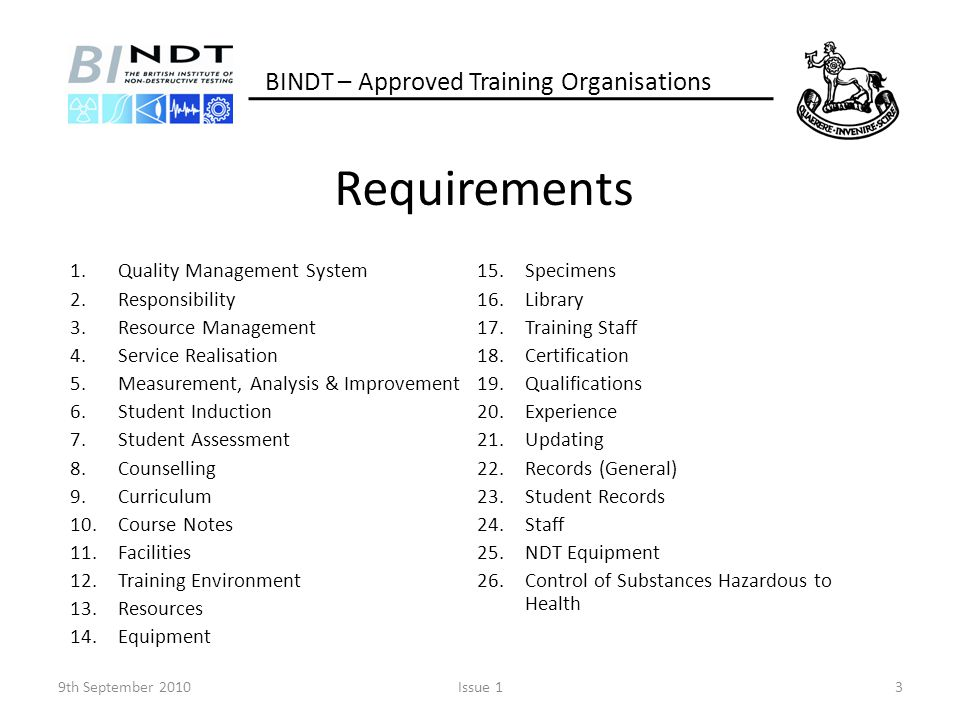 Requirements BINDT – Approved Training Organisations