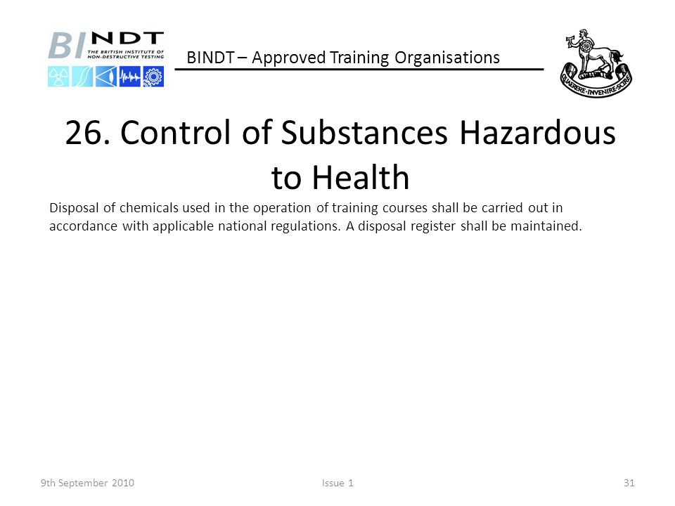 26. Control of Substances Hazardous to Health
