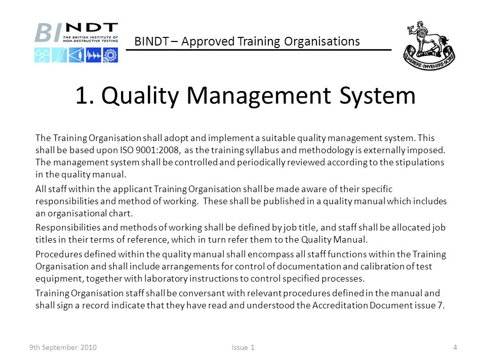 1. Quality Management System