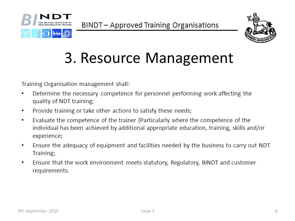 3. Resource Management BINDT – Approved Training Organisations
