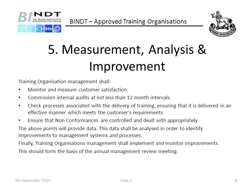 5. Measurement, Analysis & Improvement