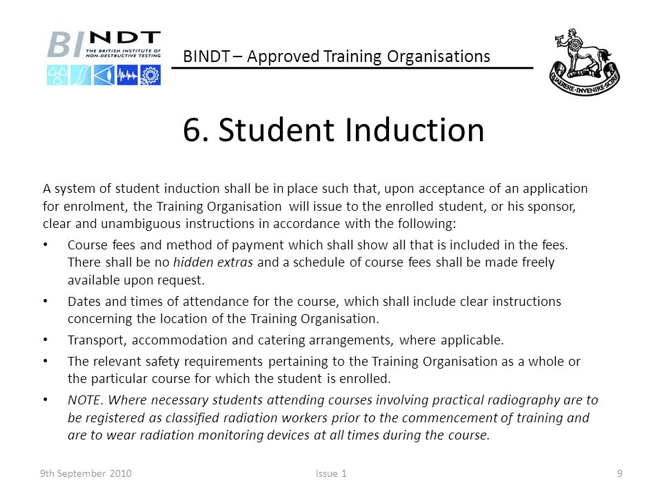6. Student Induction BINDT – Approved Training Organisations