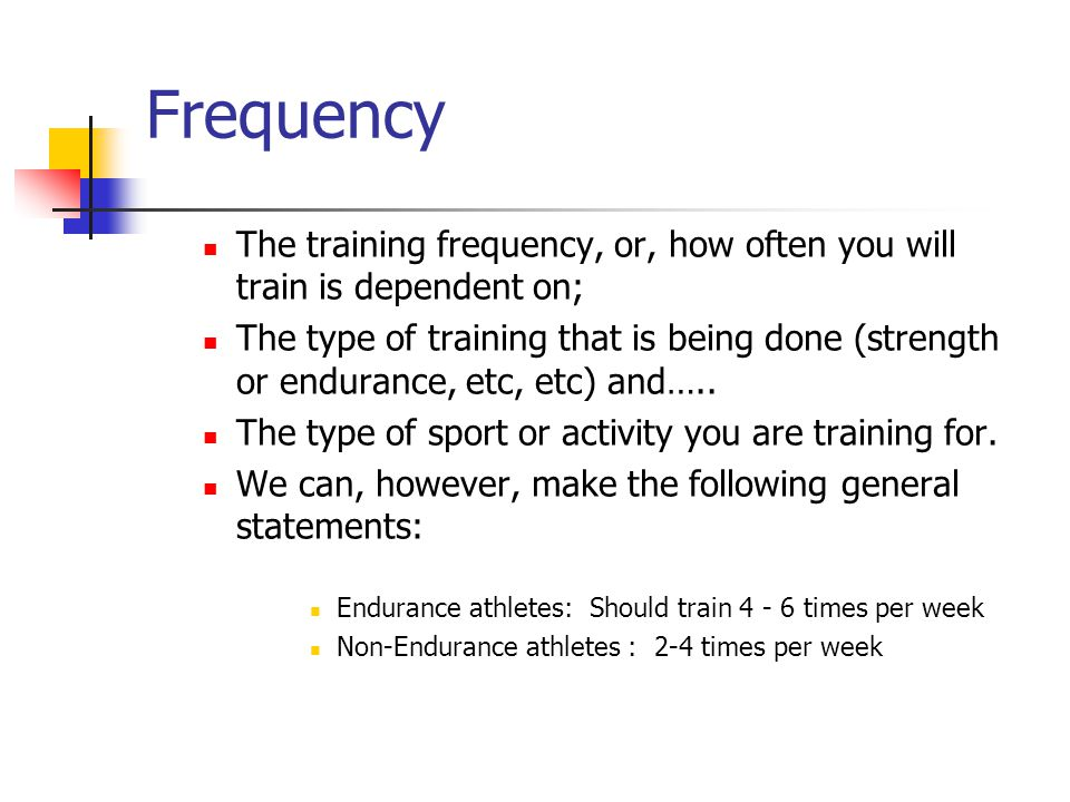 Frequency The training frequency, or, how often you will train is dependent on;
