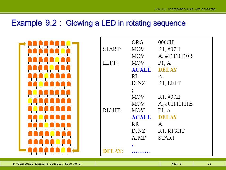 Example 9.2 : Glowing a LED in rotating sequence