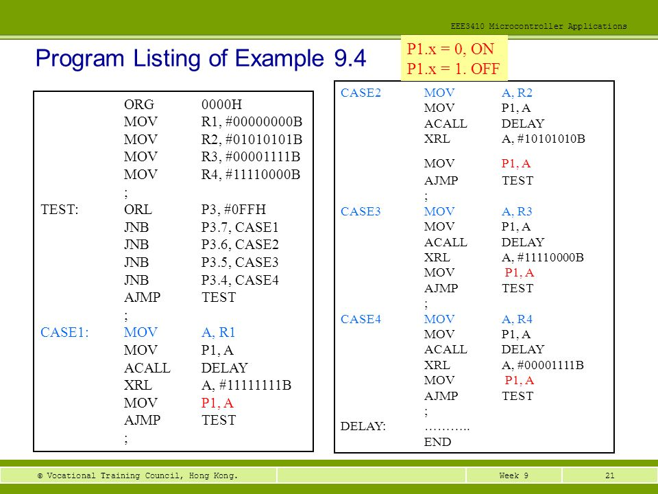 Program Listing of Example 9.4