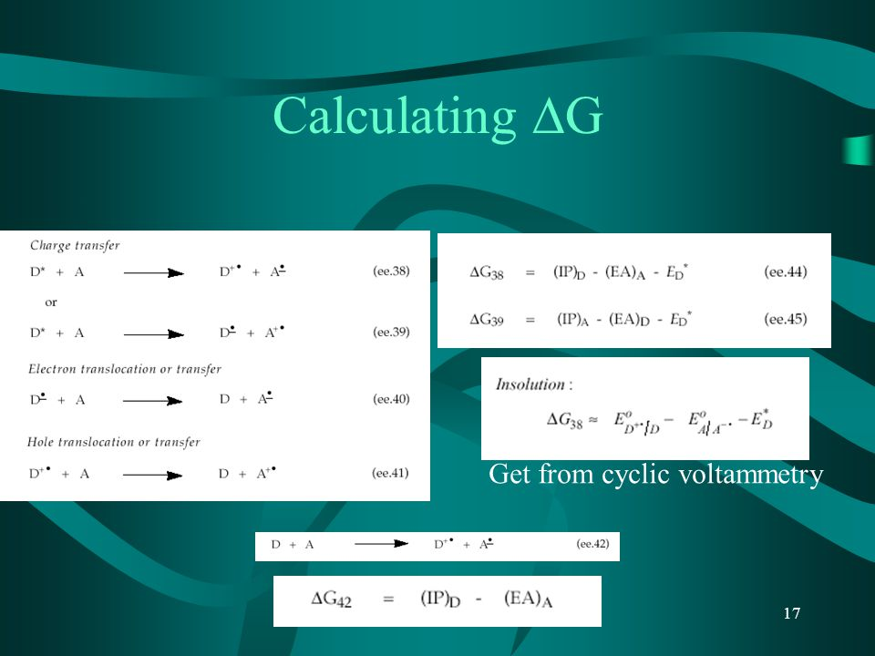Calculating G Get from cyclic voltammetry