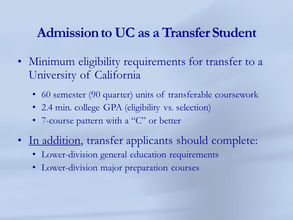 Admission to UC as a Transfer Student