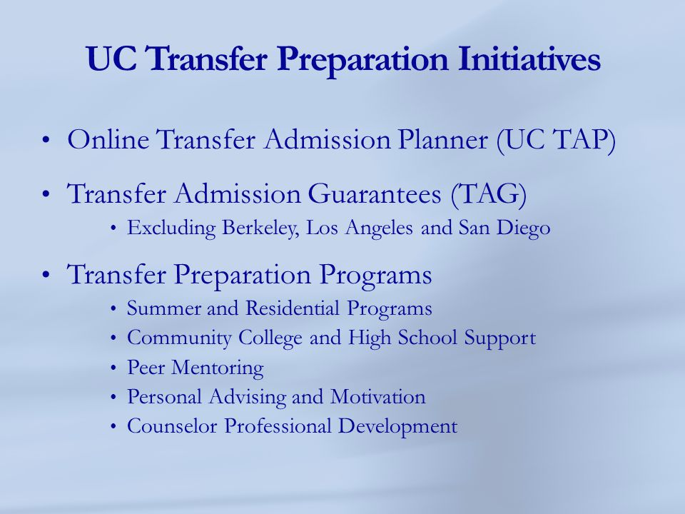 UC Transfer Preparation Initiatives