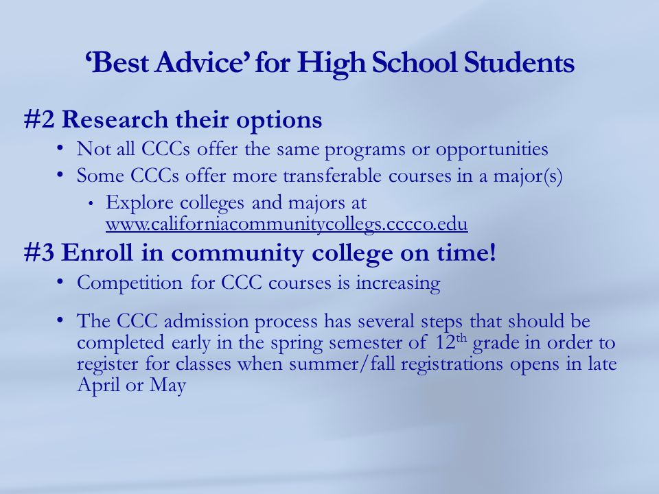 'Best Advice' for High School Students
