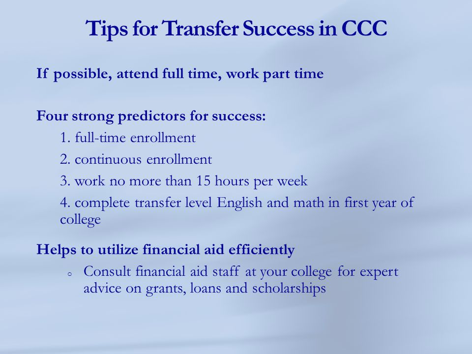 Tips for Transfer Success in CCC