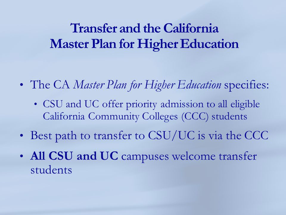 Transfer and the California Master Plan for Higher Education