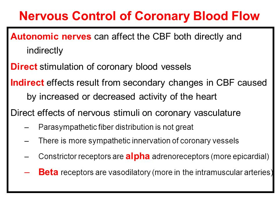 Nervous Control of Coronary Blood Flow