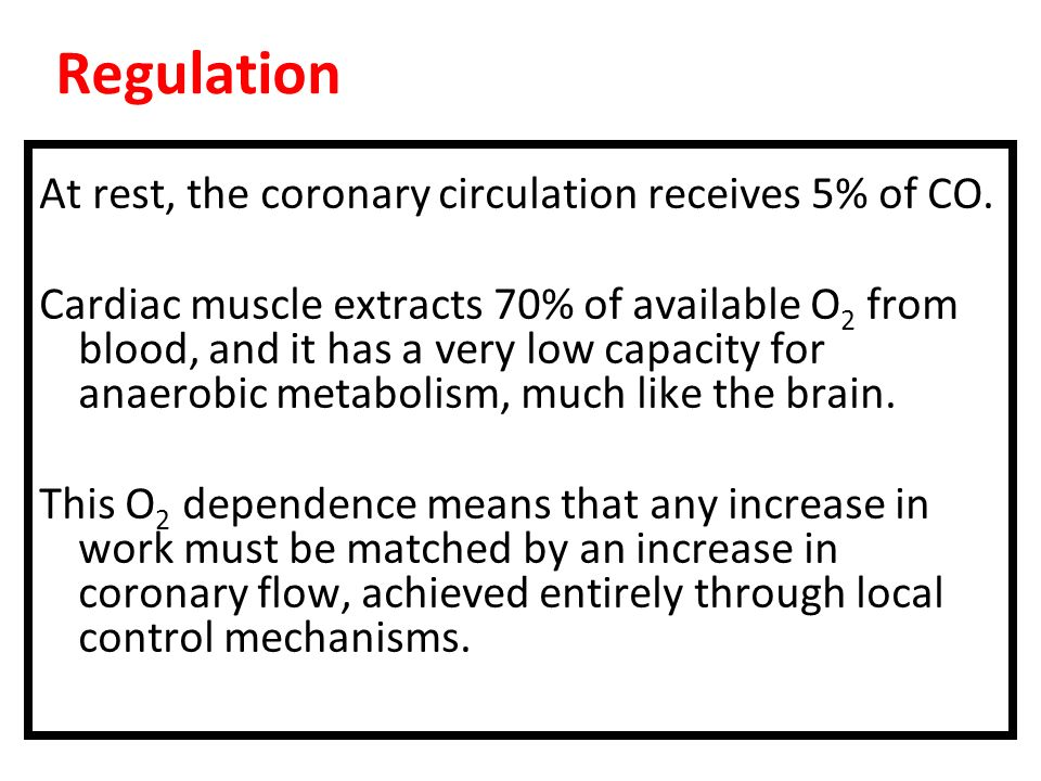 Regulation At rest, the coronary circulation receives 5% of CO.