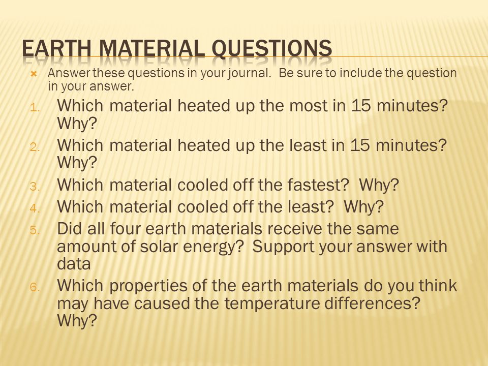 Earth Material Questions