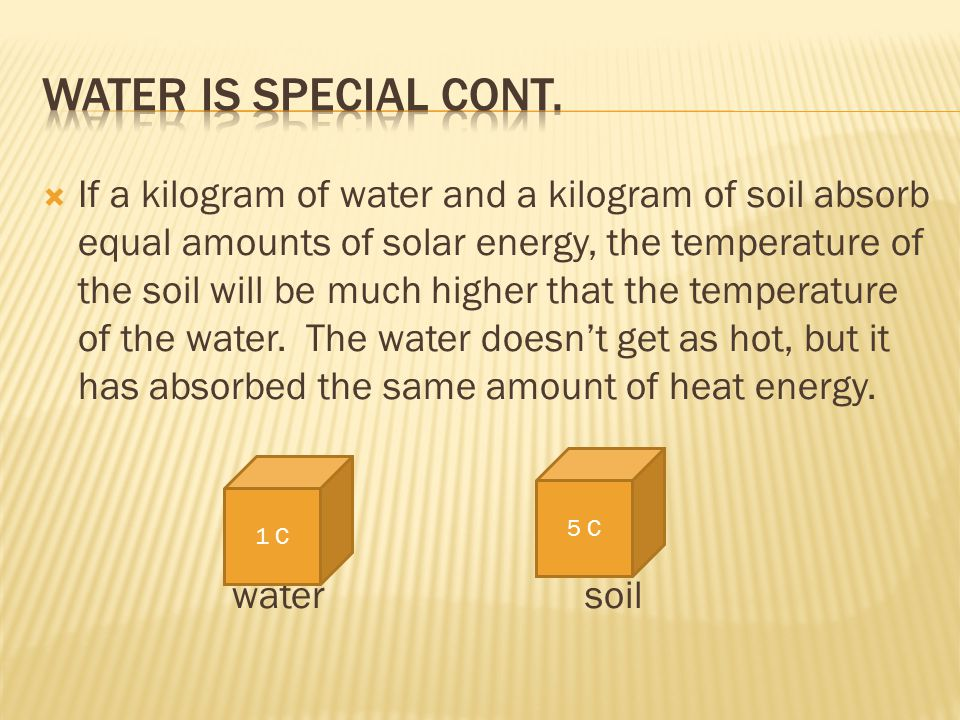 Water is Special cont.