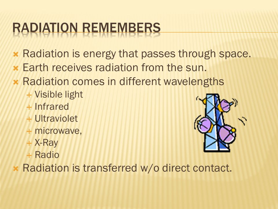 Radiation Remembers Radiation is energy that passes through space.