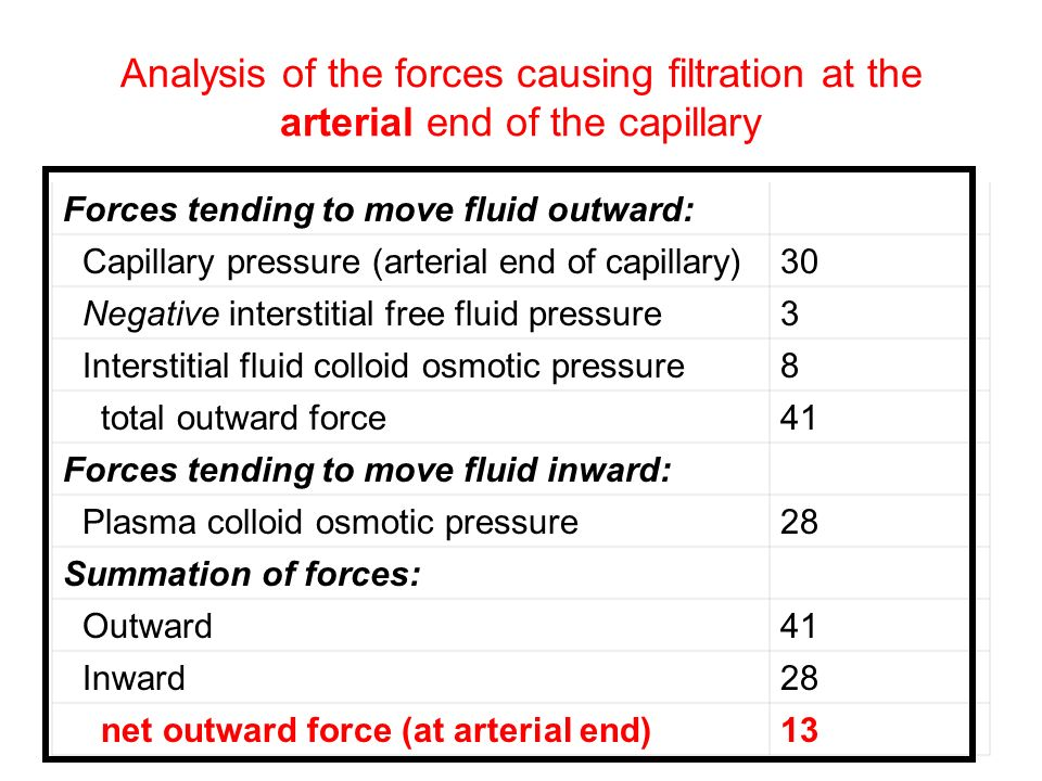 Analysis of the forces causing filtration at the arterial end of the capillary