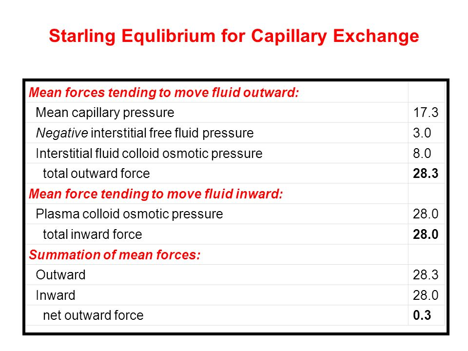 Starling Equlibrium for Capillary Exchange