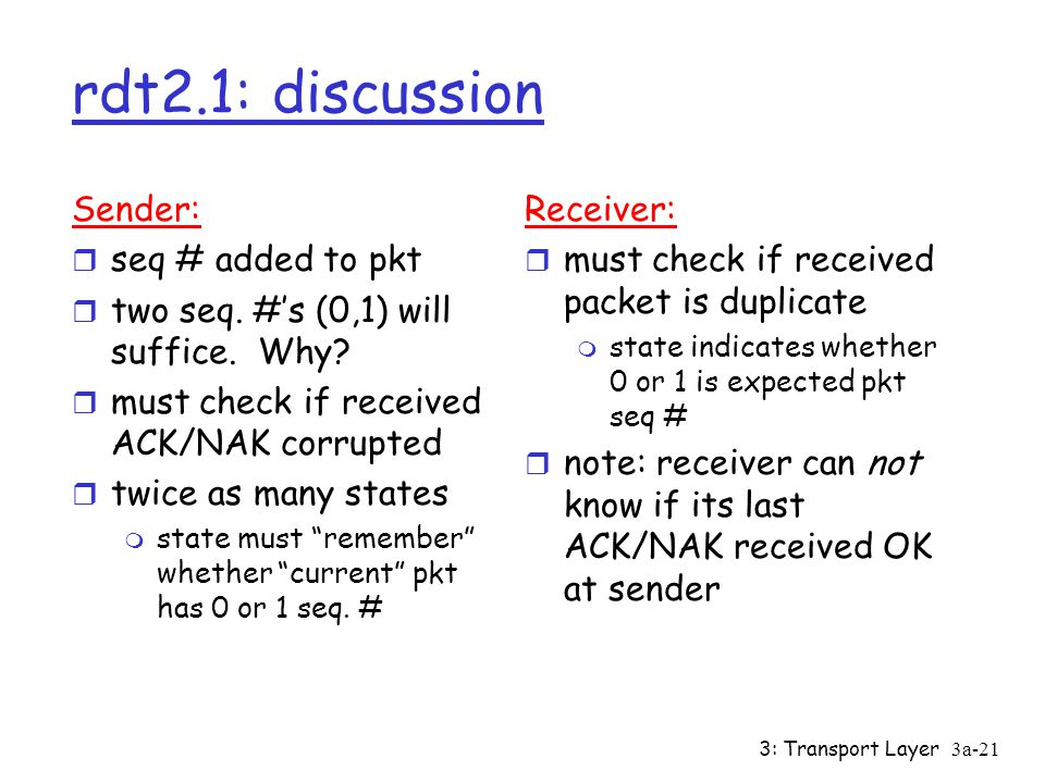 rdt2.1: discussion Sender: seq # added to pkt