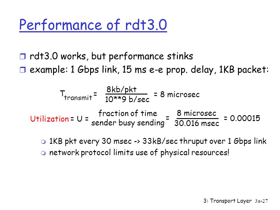 Performance of rdt3.0 rdt3.0 works, but performance stinks