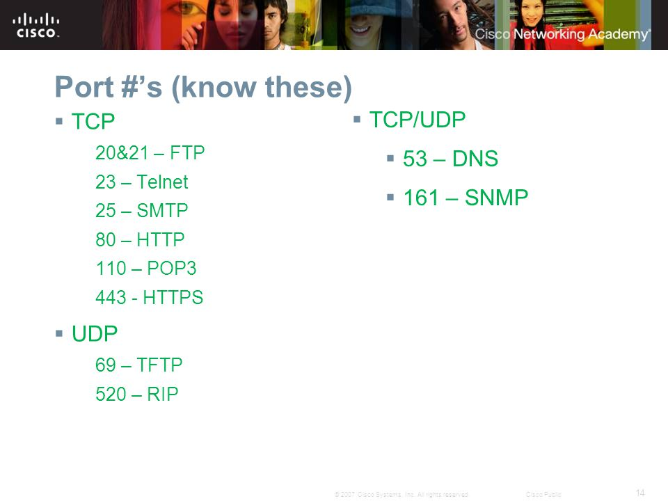 Port #'s (know these) TCP TCP/UDP 53 – DNS 161 – SNMP UDP 20&21 – FTP