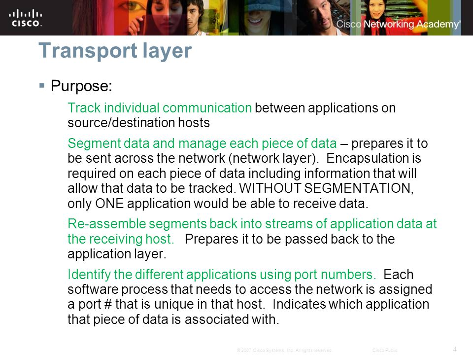 Transport layer Purpose: