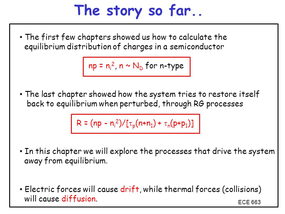 The story so far.. The first few chapters showed us how to calculate the. equilibrium distribution of charges in a semiconductor.