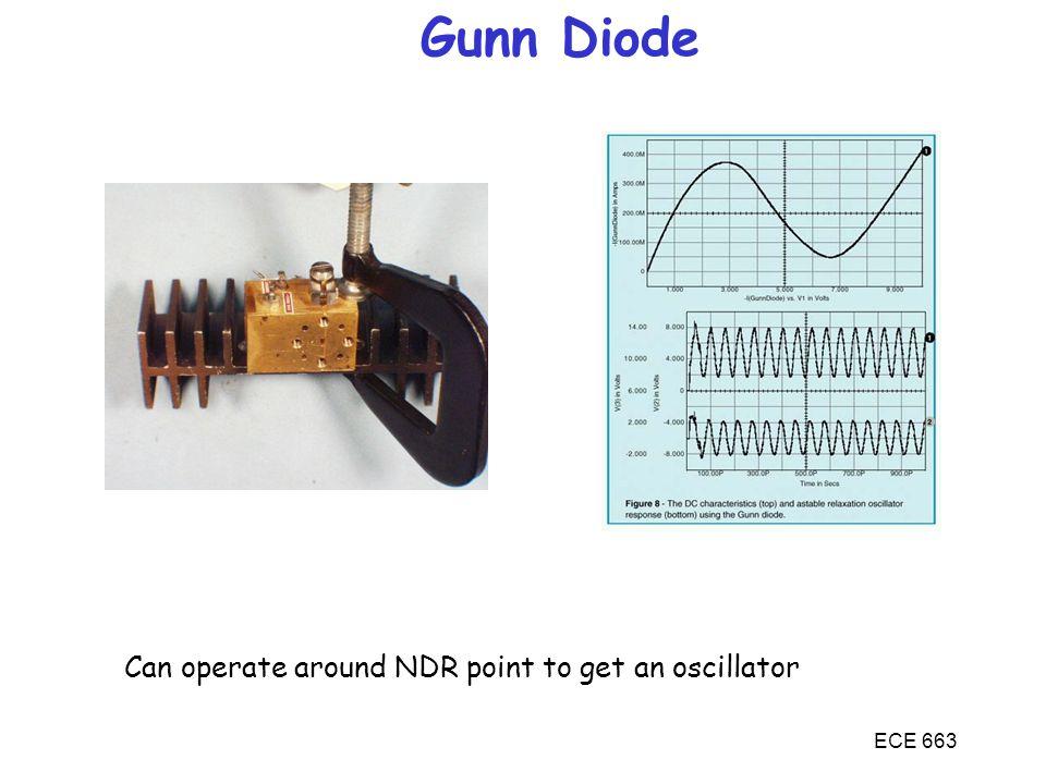 Gunn Diode Can operate around NDR point to get an oscillator ECE 663