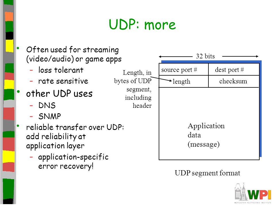 UDP: more other UDP uses
