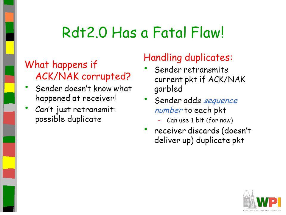 Rdt2.0 Has a Fatal Flaw! Handling duplicates: